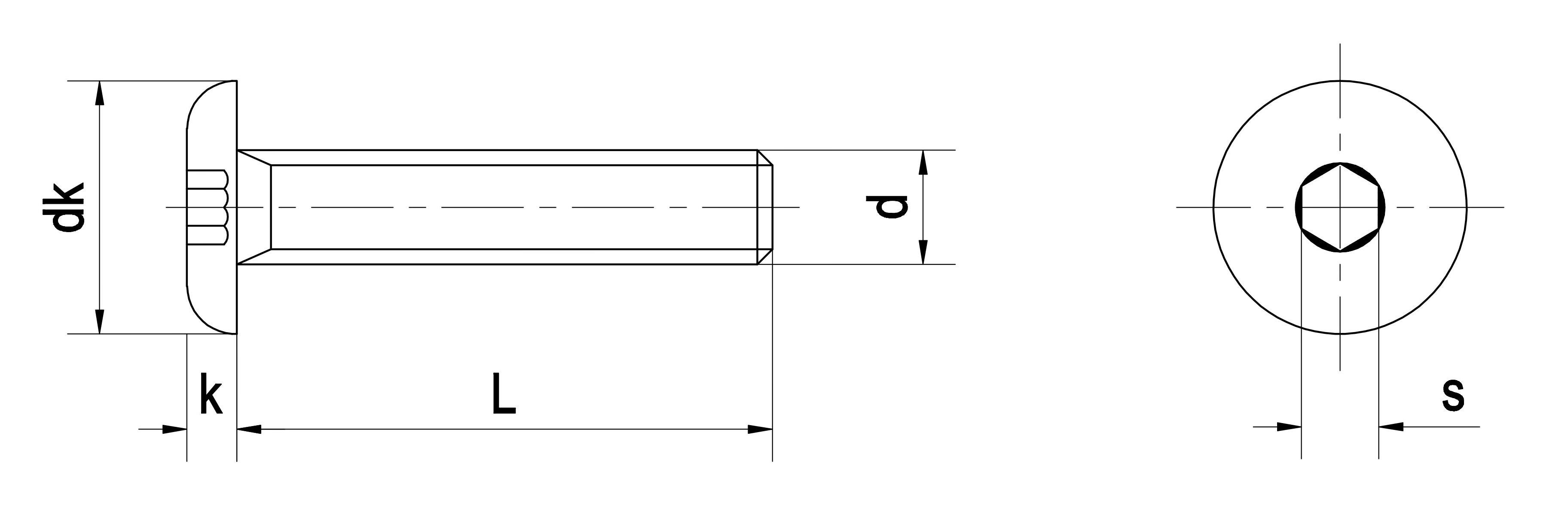 Bu lông lục giác chìm đầu cầu INOX DIN 7380