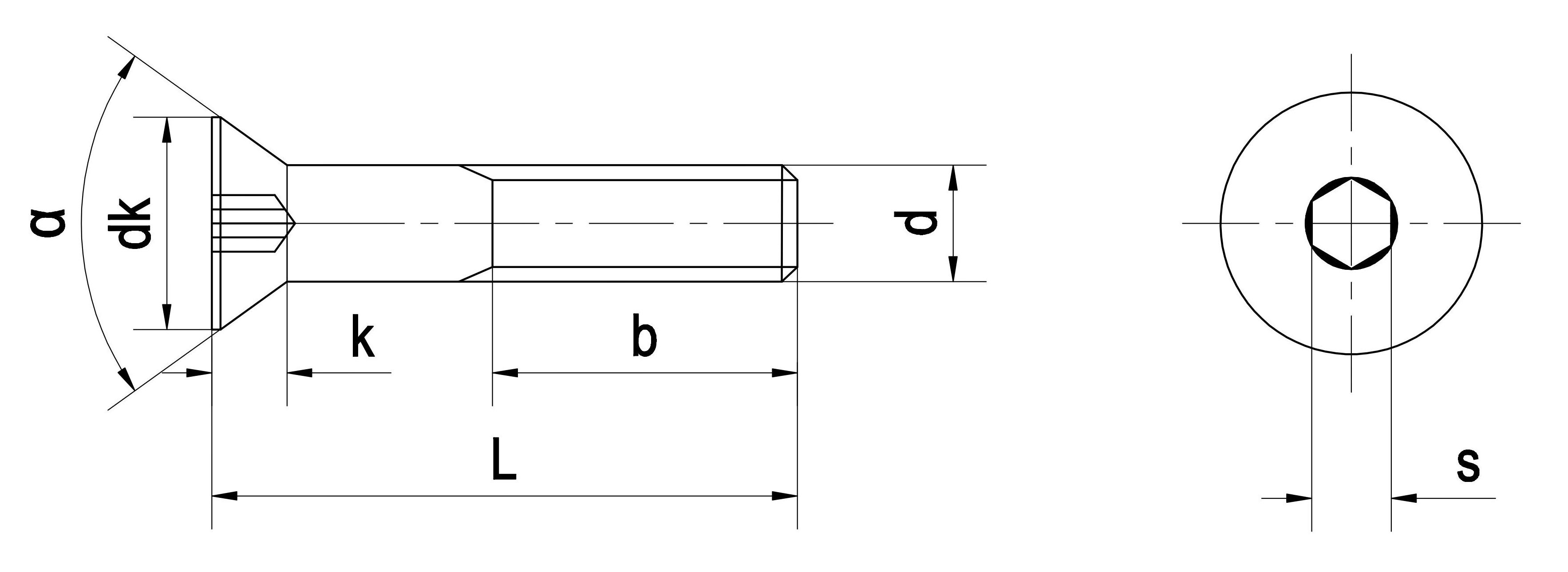 Bu lông lục giác chìm đầu bằng DIN 7991